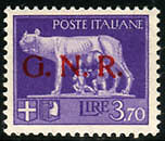 "G.N.R. Lire 3,70 n. 484A ""errore di colore"" - soprastampa in rosso"