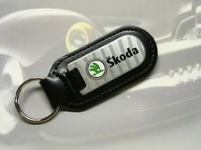 Black Leather Skoda Logo Stainless Steel Keyring Superb Octavia Fabia Yeti
