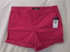 """Ladies """"Chaps"""" Size 8, Amalfi Red, Mid Rise, Slimming Fit, Stretch Cuffed Shorts"""