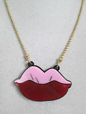 NWT Auth Betsey Johnson Betsey Plexi Pink Red Kiss Lips Pendant Chain Necklace