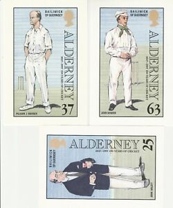 5 cricket postcards Alderney J Arlott WG Grace P Warner J Wisden Harold Larwood