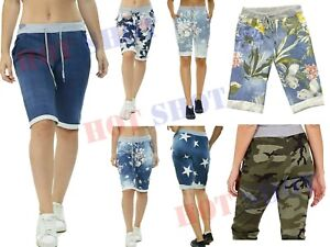 Women Ladies Italian Floral Shorts Plain Rose Printed Turn Up Summer Beach Pants