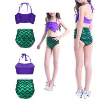 Girls 2PCS Tankini Mermaid Swimsuit Bathing Suit Halter Tops with Bottom Sets