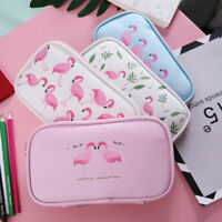 Flamingo Pencil Case Kawaii Bag Multifunction Large Capacity Pen Box Stationery~