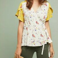 Meadow Rue Anthropologie Women's yellow Floral Wrap Blouse Size 4