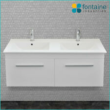 1200 Double Twin Ceramic Basin Bathroom Vanity NEW Recessed Basins White