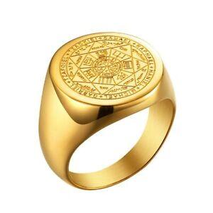 Heptagram Pentagram Seven Star Witchery Tetragrammaton Symbol Ring Stainless st.