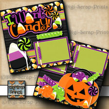 HALLOWEEN CANDY ~ 2 premade scrapbook pages paper piecing ~ BY DIGISCRAP #A0147