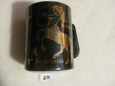 Vintage Federal Zodiac Milk Glass Coffee Mug Black & Gold Sagittarius         20