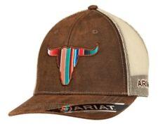 Ariat Western Mens Hat Baseball Cap Mesh Back Serape Steer Tan Brown 1517102