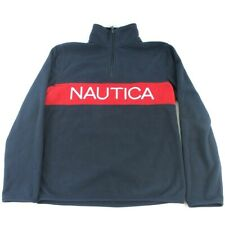 Vintage Nautica Blue Fleece 1/4 Zip Red Blue Men's Small Long Sleeve Spell out