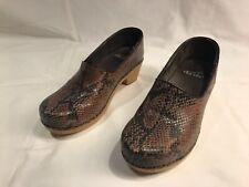 Dansko Brown Black Snakeskin Clogs Shoes Size 36 - 5 1/2 US