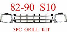 82 90 Chevy S10 3Pc Grill & Head Light Door Kit, Chrome & Silver