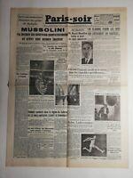 N339 La Une Du Journal Paris-soir 15 septembre 1943 Mussolini gouvernement