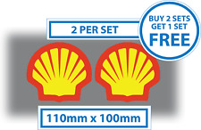 2 X Shell Logo Stickers Race Car F1 Rally Grand Prix 100mm x 110mm Vinyl Decals