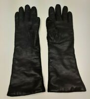 🔥 Women's Long Soft Lamb skin Leather Gloves Sz.6.5 Wool interior Made in Italy