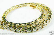 "Yellow gold plate Metal Brilliant CZ Cubic Zirconia Tennis Bracelet 7.25"" long"