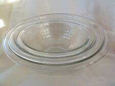 Vintage PYREX Set of 3 Nesting Bowls 322 323 325 Clear Rimmed Mixing Serving Bow