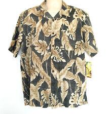 NWT: PANAMA JACK Men's L UNIQUE Printed on Reverse Banana Leaf Hawaiian Shirt