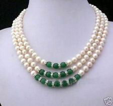 Pearl & Emerald Necklace 3Rows 7-8Mm White Akoya