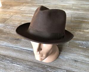 BORSALINO Alessandria Grand Prix Paris 1900 Men's Fedora Hat Brown Sz 6 Vintage