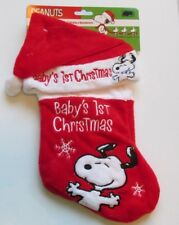 Snoopy Peanuts Plush Stocking & Hat Baby's My First Christmas Set of 2