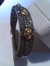 JUDITH JACK Vintage S.Silver&Marcasite w/three14Kyg.Incrustations Oval Bracelet