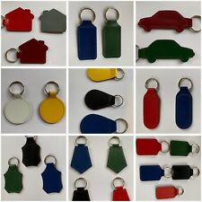 More details for quality bonded coloured leather keyring keyfobs plain blank shapes personalised