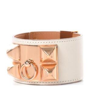 NIB Authentic Hermes Collier De Chien Craie Swift Rose Gold HDW Bracelet T2