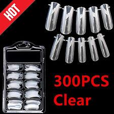 Lots 300pcs Clear Full Nails Tips Dual Nail Art System Form Acrylic False Tips