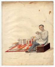 China-Chinesen-Buchhändler-Bücher-Buch Kupferstich Dadley 1800 Ethnologie