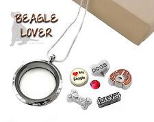 Beagle Lover Memory Glass Locket Pendant Set w/ Floating Dog Charms, Necklace