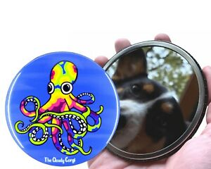 Psychedelic Rainbow Octopus Travel Pocket Mirror Gift Collectible Accessories