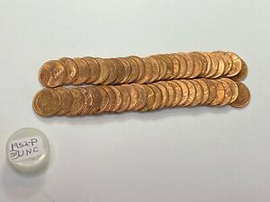 1952 P RED BU UNCIRCULATED LINCOLN WHEAT CENT ROLL SPOTTED