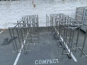 Used Clothing Rack 4 Way Straight Arms Silver Clothes Adjustable Garment Retail