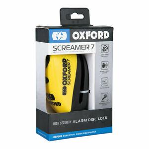Oxford Screamer7 Alarm Disc Lock Yellow Black Motorbike Scooter Motorcycle Moped