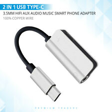 2 IN 1 USB Type-C To 3.5mm Jack AUX Audio Headphone Adapter Charger Cable uni.