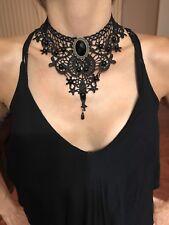 Black Lace Gothic Lolita Retro Pendant Choker Necklace For Women