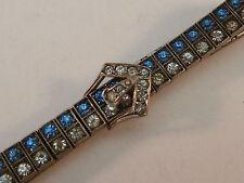 Art Deco Diamonbar Sterling Silver & Rhinestone Buckle Bracelet Antique Vintage