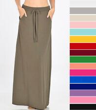 Women's High Waist Maxi Skirt Soft Stretch Knit Drawstring Pockets Casual Basic