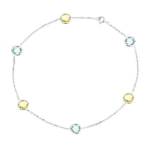 14K White Gold Anklet Bracelet With Blue and Lemon Topaz Gemstones 9 Inches