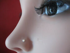 Sterling Silver Nose Stud 2mm Ball End 22 gauge 8mm long AB Cry nose piercing