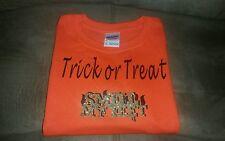 Gildan Heavy Cotton Youth Girl's Orange Tshirt with Glitter Halloween Design