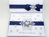 Handmade LUXURY Personalised CHRISTMAS Card SNOWFLAKE 3D Gift Box Keepsake