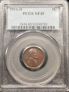 1911-D LINCOLN CENT - PCGS XF-45