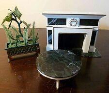 Vintage 1960's Petite Princess Fantasy Furniture Fireplace, Coffee Table & Plant