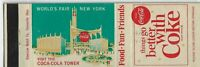 Matchcover World's Fair 1964 New York Coca-Cola Tower things go better with Coke