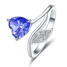 Unique 925 Silver Fashion Heart Ring Tanzanite Garnet Gemstone Jewelry New Gifts