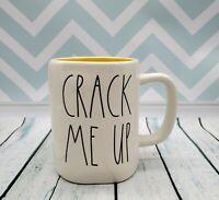 "Rae Dunn 2020 LL ""CRACK ME UP"" Coffee / Tea Mug with Yellow Inside- New"