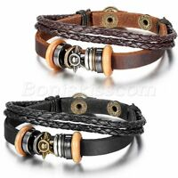 Men Women Tribal Sun Beaded Leather Braided Strap Bracelet Wristband Cuff Bangle